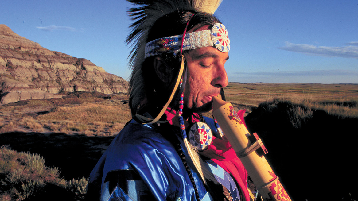 Keven Locke playing an indigenous Northern Plains flute