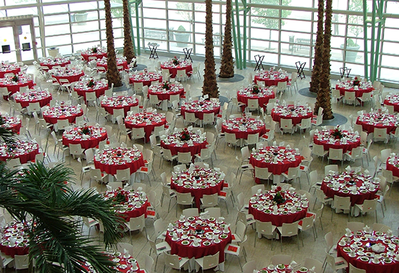 Overlooking the Schuster Center Wintergarden set up for a reception
