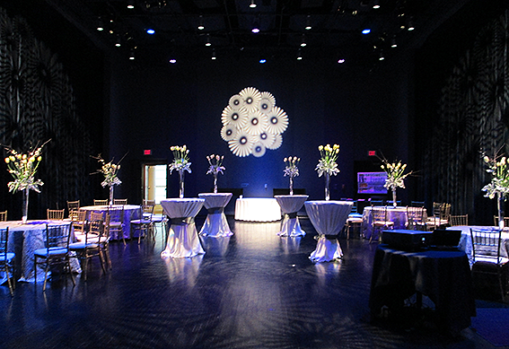 The Mathile Theatre at the Schuster Center set up for an event.