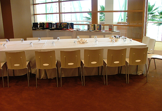Table set up for a meeting in the Schuster Center Donor Rooms