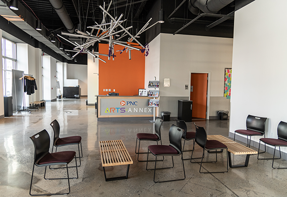The lobby of the PNC Arts Annex