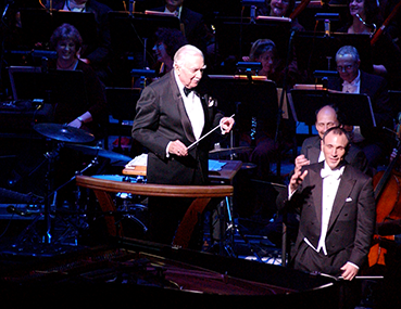 Walter Cronkite with conductor Neal Gittleman at the Schuster Center Grand Opening gala.