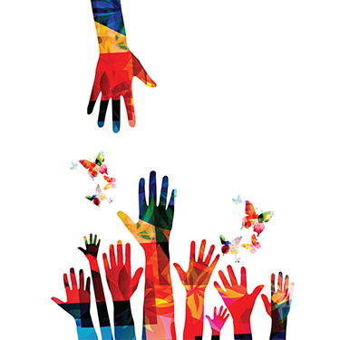 Colorful hands illustration