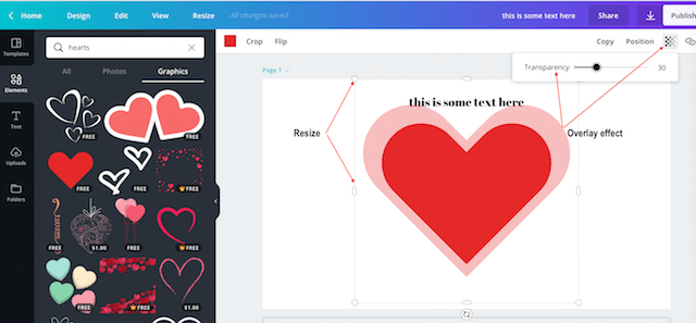 how to resize and overlay graphic in canva