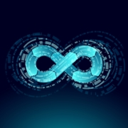 Bright blue infinity symbol to show devops and software development from DevelopIntelligence