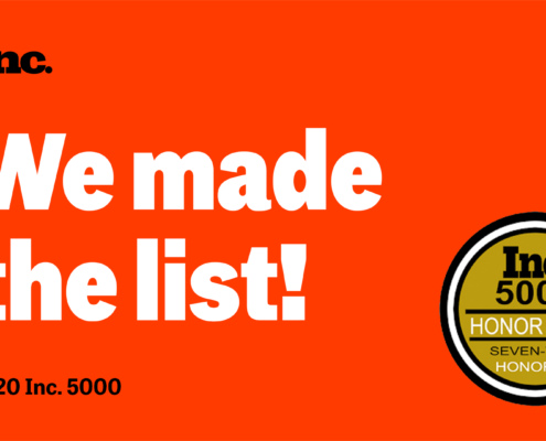 """a bright red banner that shows that DevelopIntelligence made the Inc. 5000 Honor Roll. It says """"We made the list!"""" with a sticker that says """"seven-time honoree."""""""