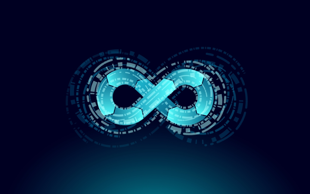 This vector illustration shows a stylized infinity symbol, which is the universal symbol of DevOps implementation. The left side represents software development. The right side represents operations. The two previously separate organizations now communicate continuously with each other.