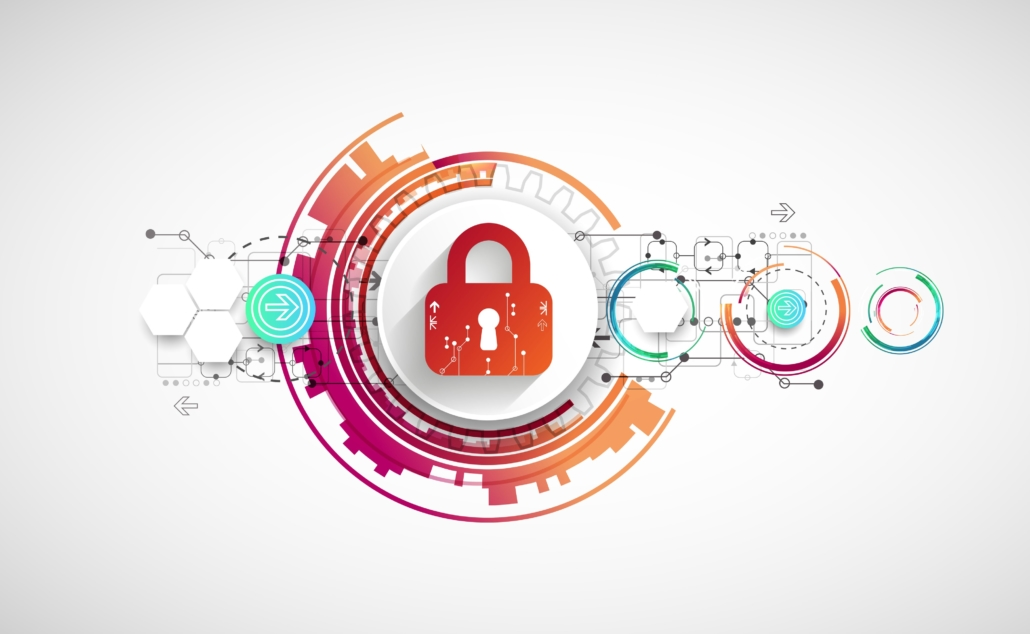 This illustration shows a padlock with artistic diagrams to the left and right, suggesting a workflow. Prioritizing cybersecurity requires a cross-functional effort.