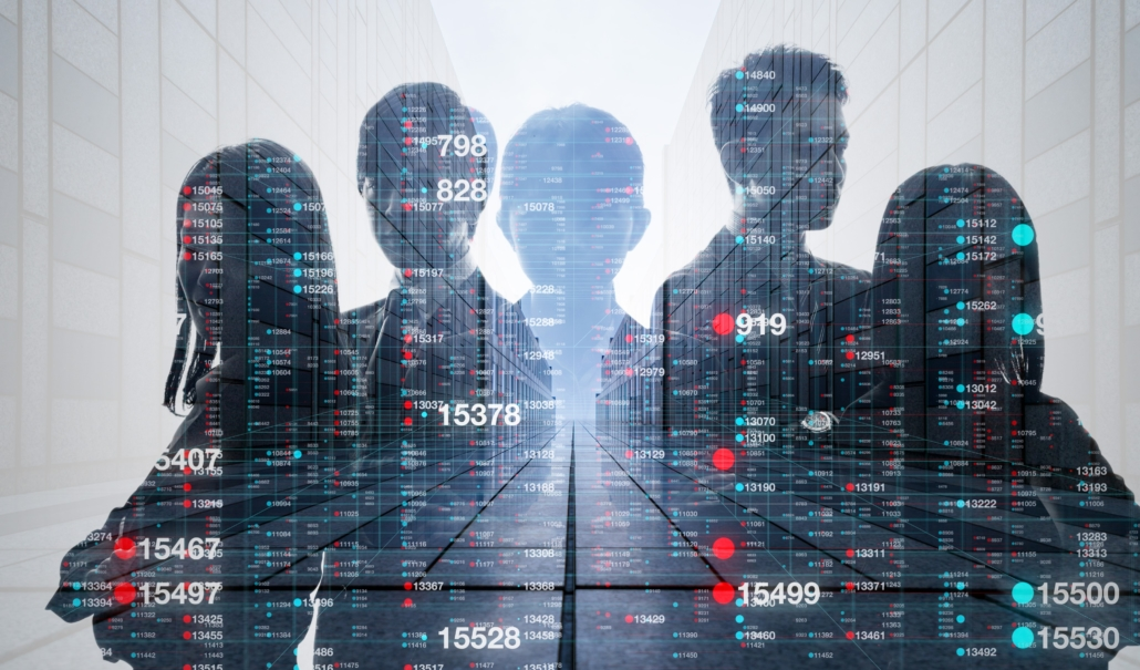 This artistic image shows a team of five information security professionals with an overlay of numbers. In summary, cybersecurity training is a good first step for becoming adept at security. Next, specialists need to develop security intuition.