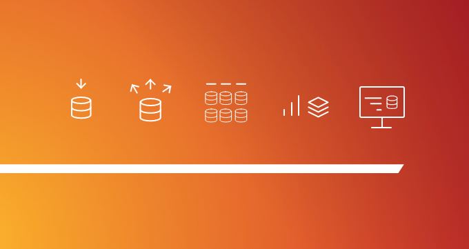 This simple illustration has an orange gradient background, with five white icons that suggest the Big Data journey, as well as white underscore. There are no words on the image. It's a header for this blog post about Big Data terminology.