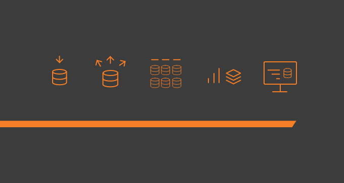 This simple illustration has a navy background with five orange icons that suggest the Big Data journey, as well as an orange underscore. There are no words on the image. It's a header for this blog post describing the Big Data pipeline.