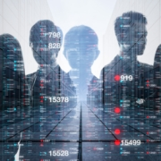 a graphic of different people with data and numbers on the screen to show security intuition.