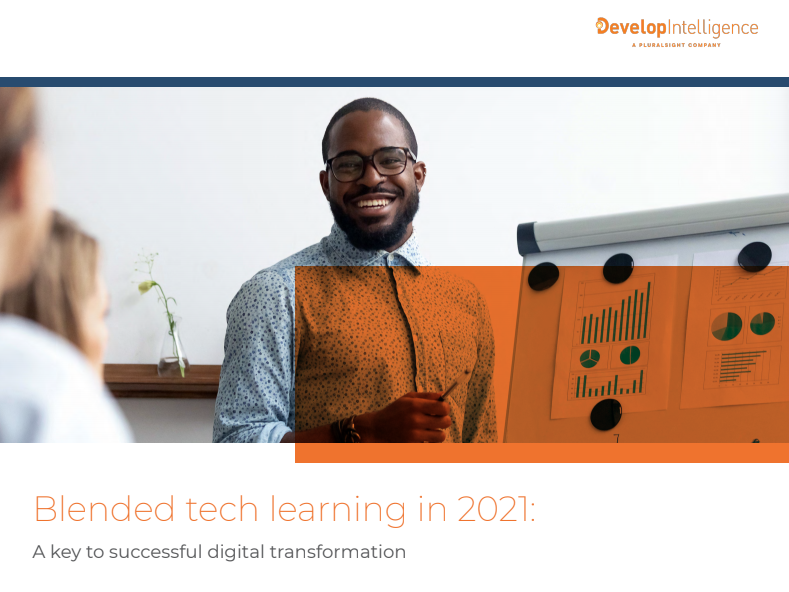 This image is a thumbnail of the Blended Tech Learning in 2021 whitepaper. In addition to the title, it shows a Black instructor, smiling while standing at a board with charts on it.
