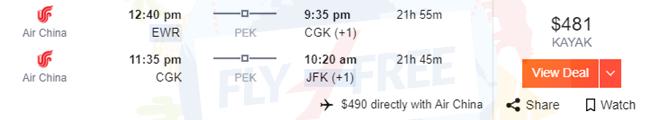 EWR to CGK, CGK to JFK