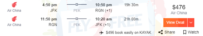 JFK to RGN, RGN to JFK