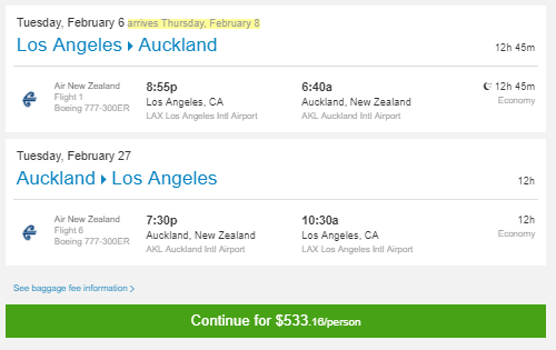 Los Angeles to Auckland from Priceline