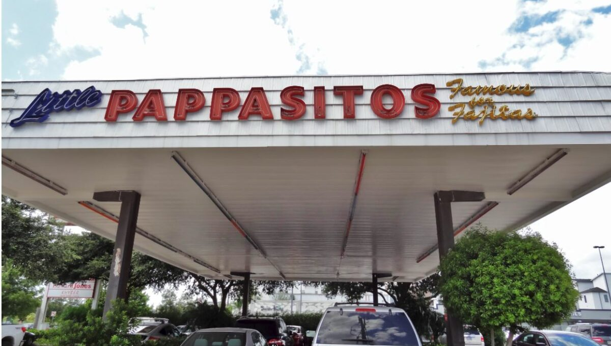 Little Pappasitos covered parking (gas station conversion)