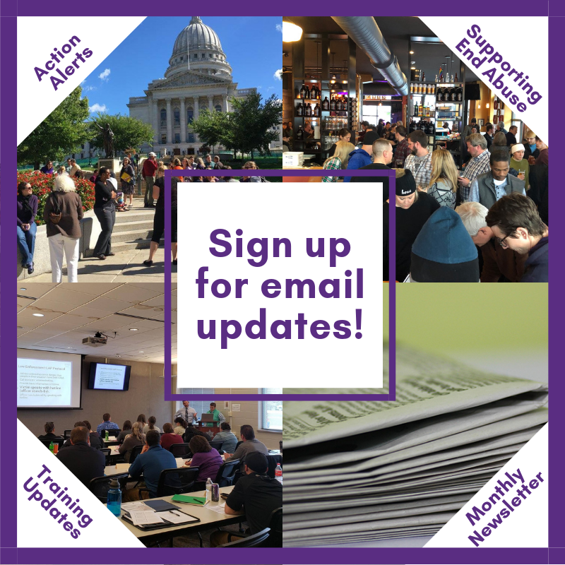 Photos of the WI state capitol, a training of WI advocates, a fundraiser, and a newsletter