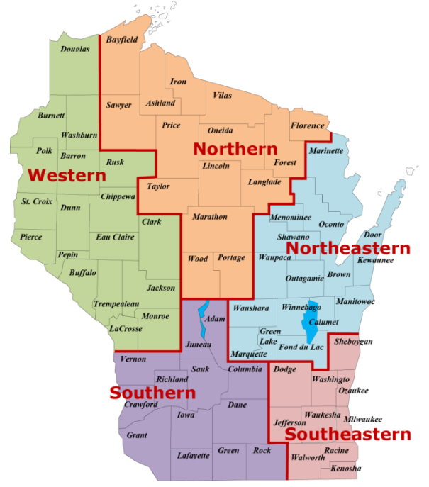 Map of Wisconsin divided into five regions