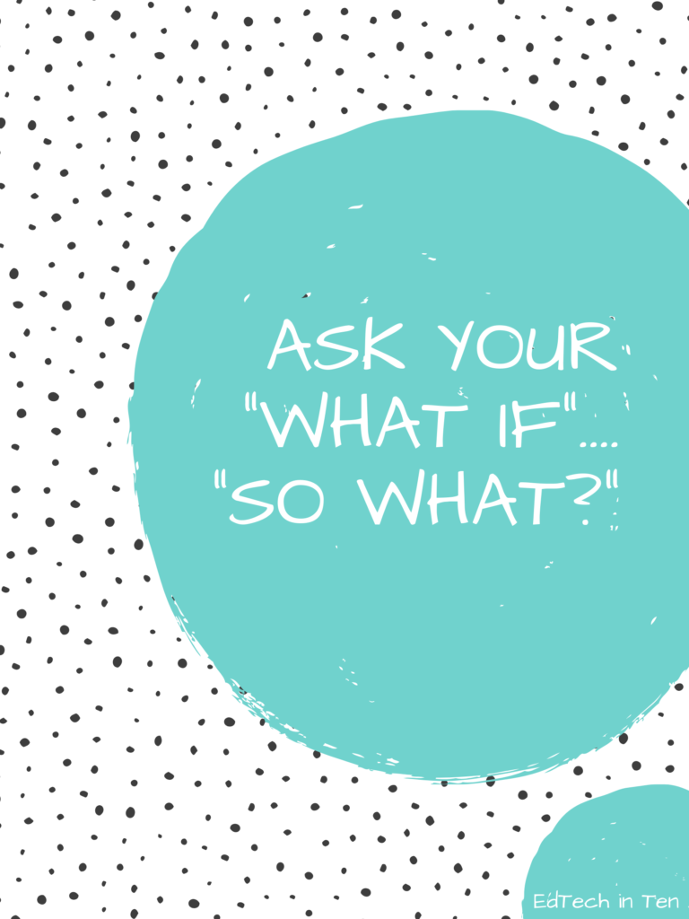 "Poster with a colored circle that says ""Ask your what if so what"""