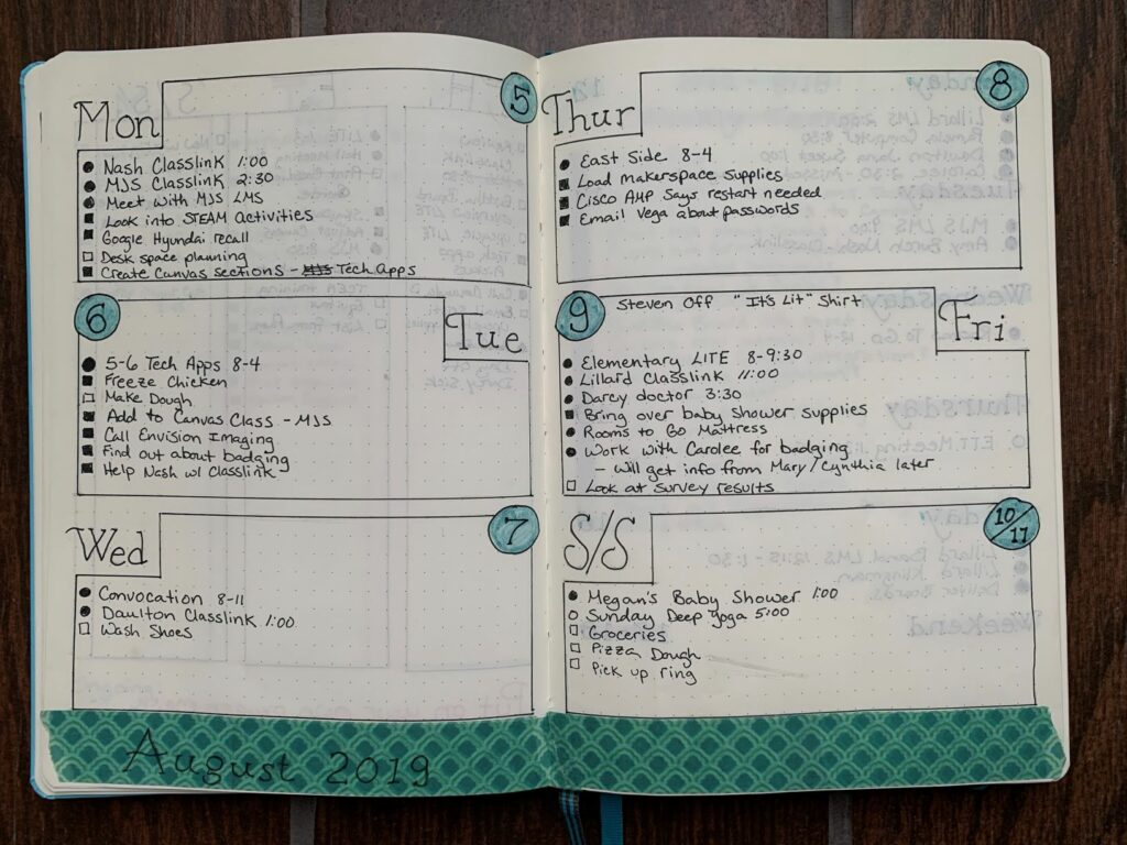 A weekly layout example with green washi tape at the bottom of the page.