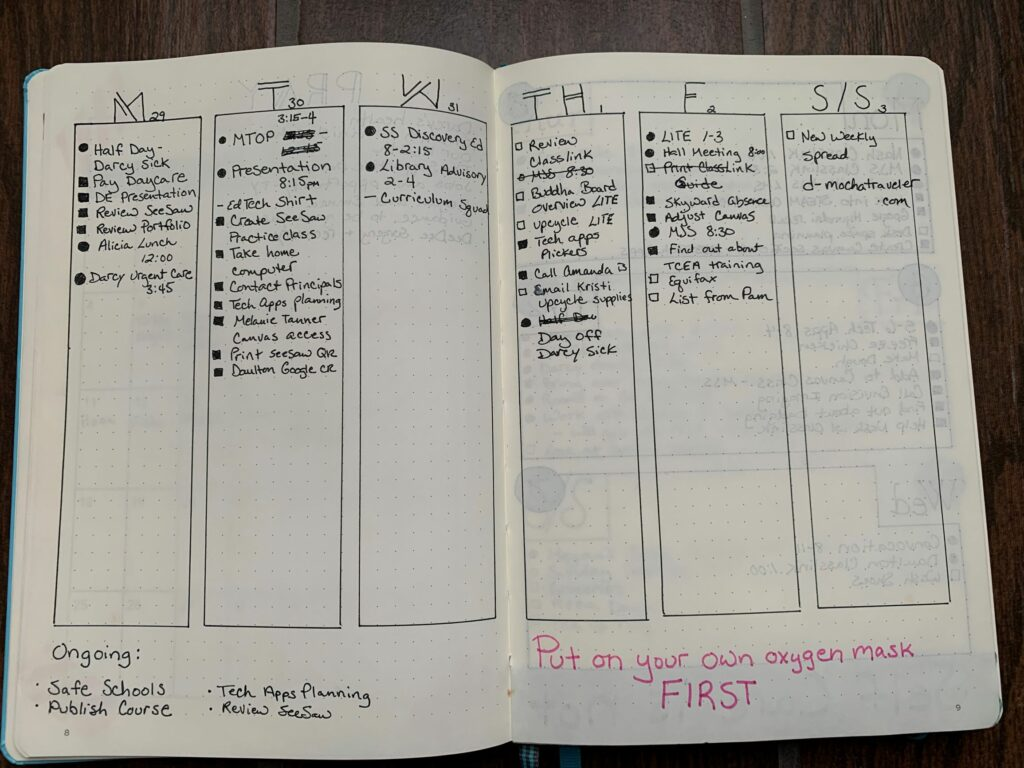 A narrow weekly layout that I hated.