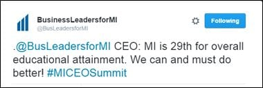 .@BusLeadersforMI CEO: MI is 29th for overall educational attainment. We can and must do better! #MICEOSummit