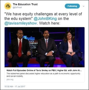 "@EdTrust: ""We have equity challenges at every level of the edu system"" @JohnBKing on the @tavissmileyshow. Watch here: https://t.co/lKUeMqZVFV"