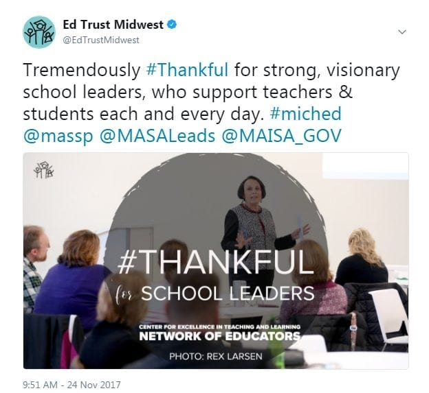Tremendously #Thankful for strong, visionary school leaders, who support teachers & students each and every day. #miched @massp @MASALeads @MAISA_GOV