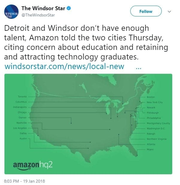 Detroit and Windsor don't have enough talent, Amazon told the two cities Thursday, citing concern about education and retaining and attracting technology graduates. http://windsorstar.com/news/local-news/jarvis-a-losing-bid-but-an-invaluable-one?utm_term=Autofeed&utm_campaign=Echobox&utm_medium=Social&utm_source=Twitter#link_time=1516409591 …