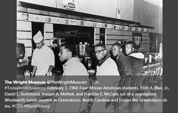 #TodayInBlackHistory: February 1, 1960 Four African American students, Ezell A. Blair, Jr., David L. Richmond, Joseph A. McNeil, and Franklin E. McCain, sat at a segregated Woolworth lunch counter in Greensboro, North Carolina and began the Greensboro sit-ins. #OTD #BlackHistory