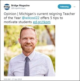 Opinion | Michigan's current reigning Teacher of the Year @wilcoxl22 offers 5 tips to motivate students http://ed.gr/rkom
