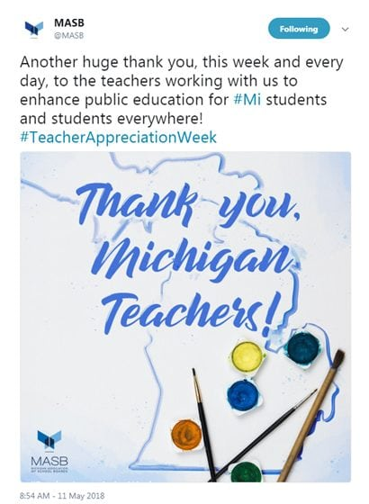 Another huge thank you, this week and every day, to the teachers working with us to enhance public education for #Mi students and students everywhere! #TeacherAppreciationWeek