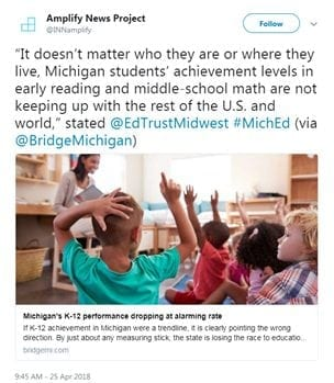 """It doesn't matter who they are or where they live, Michigan students' achievement levels in early reading and middle-school math are not keeping up with the rest of the U.S. and world,"" stated @EdTrustMidwest #MichEd (via @BridgeMichigan)]"