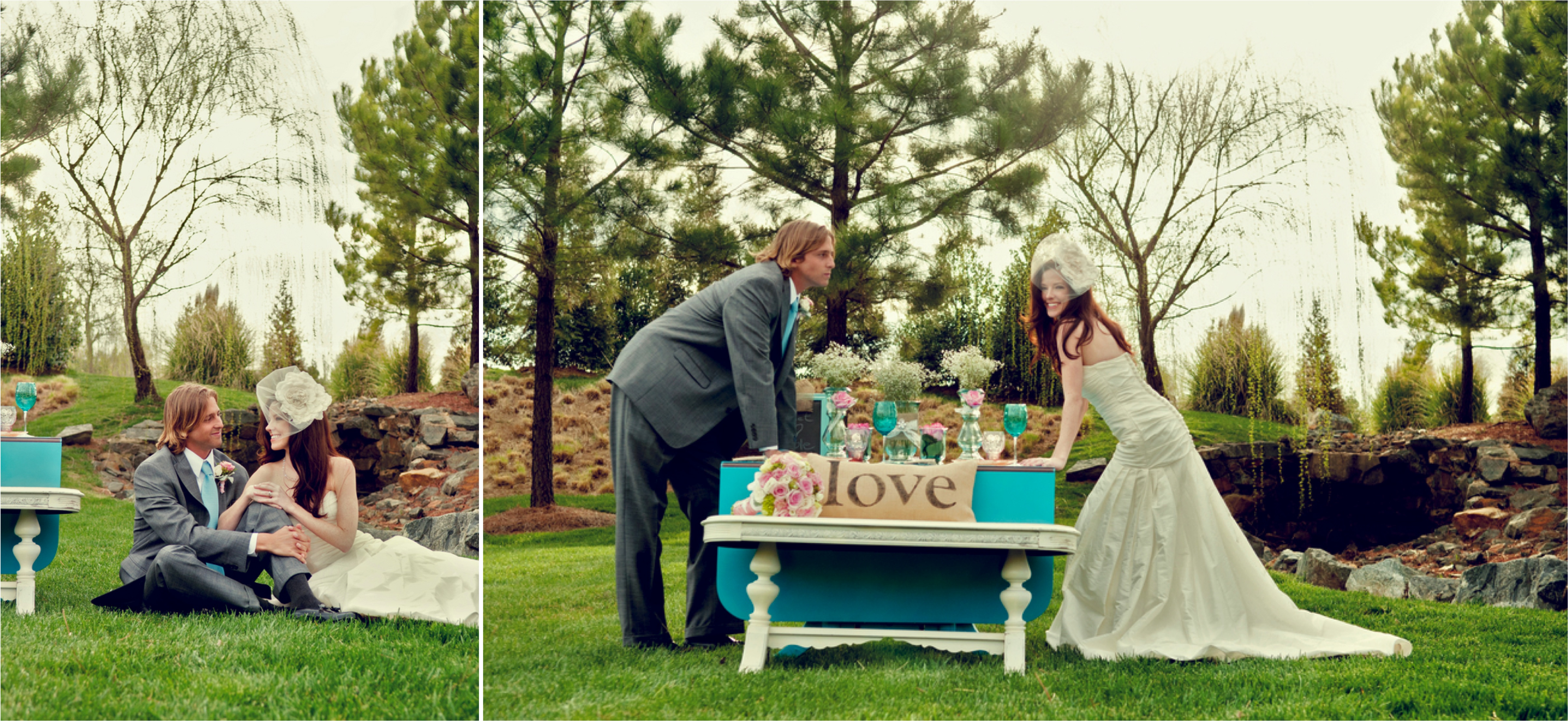 Pink & Turquoise Shabby Chic Wedding Inspiration via TheELD.com