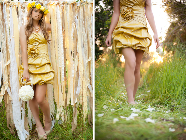 Whimsical Yellow Bridesmaid Inspiration via TheELD.com