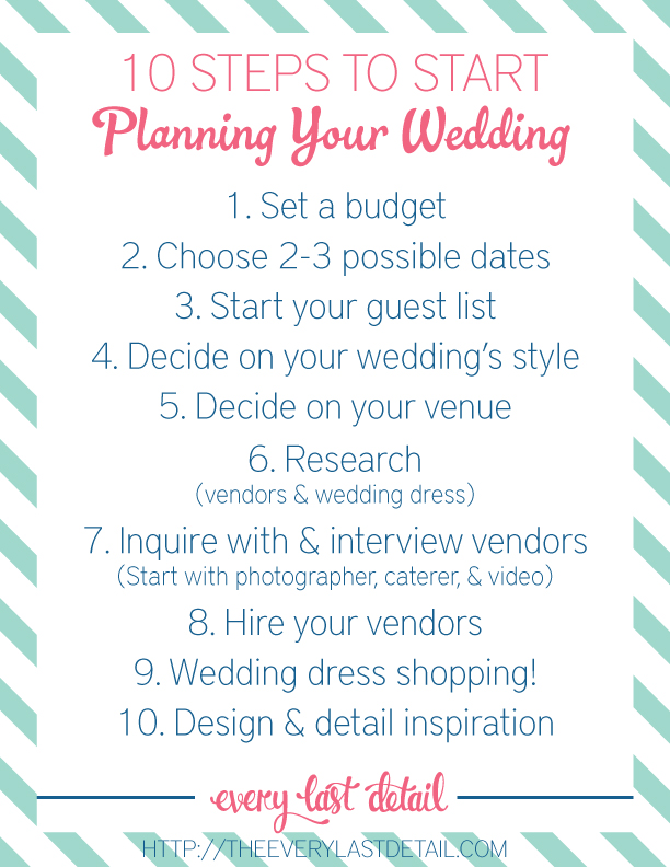 Newly engaged 10 steps to start planning a wedding for What to know about planning a wedding