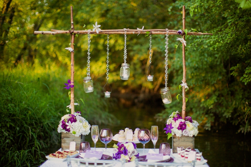 Purple & White Rustic & Romantic Wedding Inspiration via TheELD.com