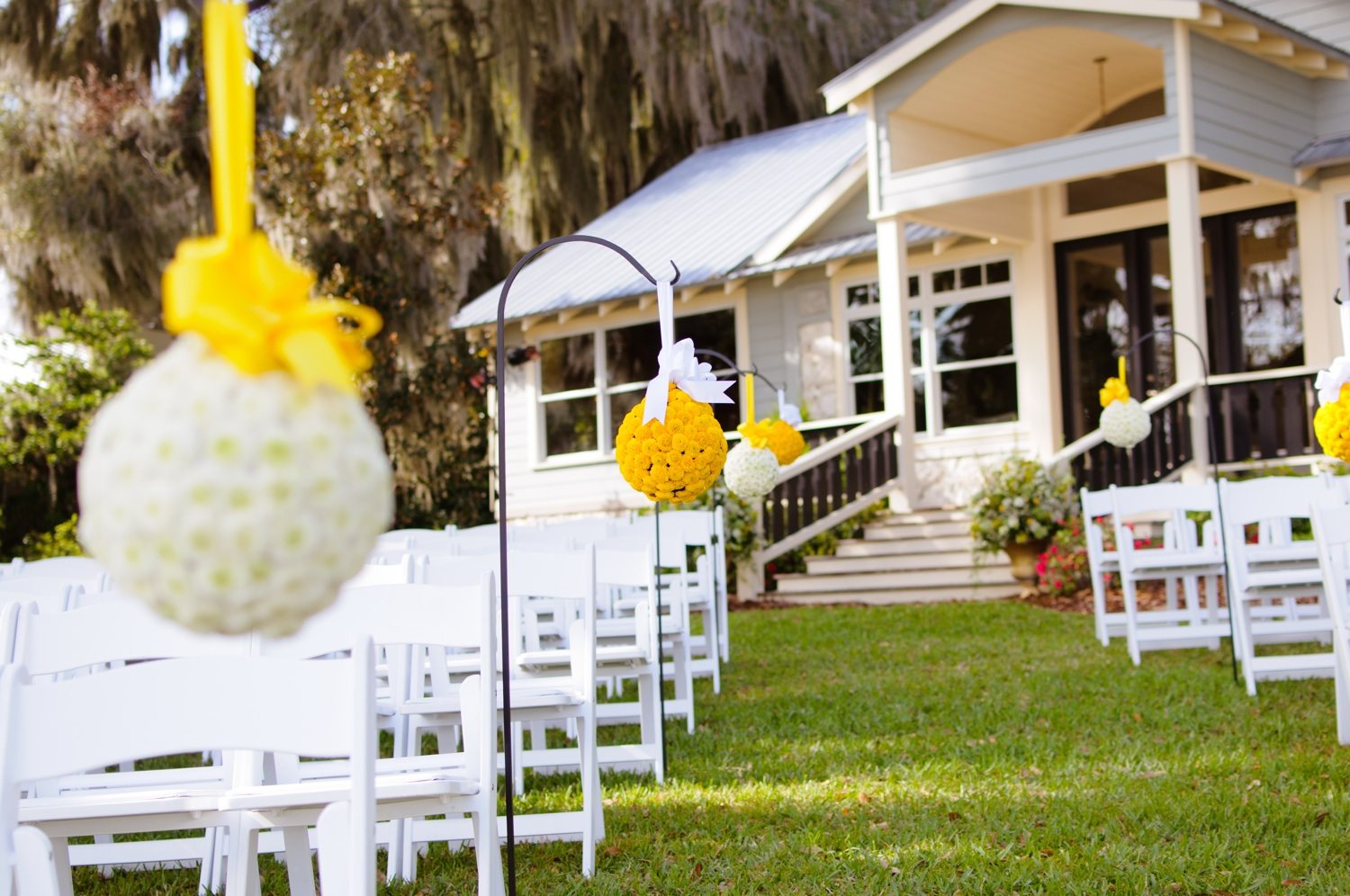 Eclectic Yellow & Gray Lakeside Wedding via TheELD.com