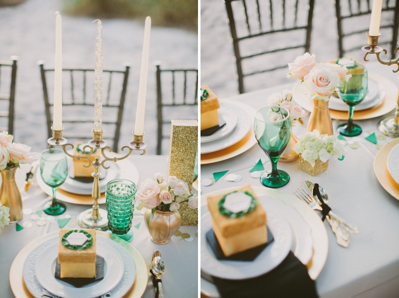 Emerald Green & Gold Engagement Party Inspiration via TheELD.com