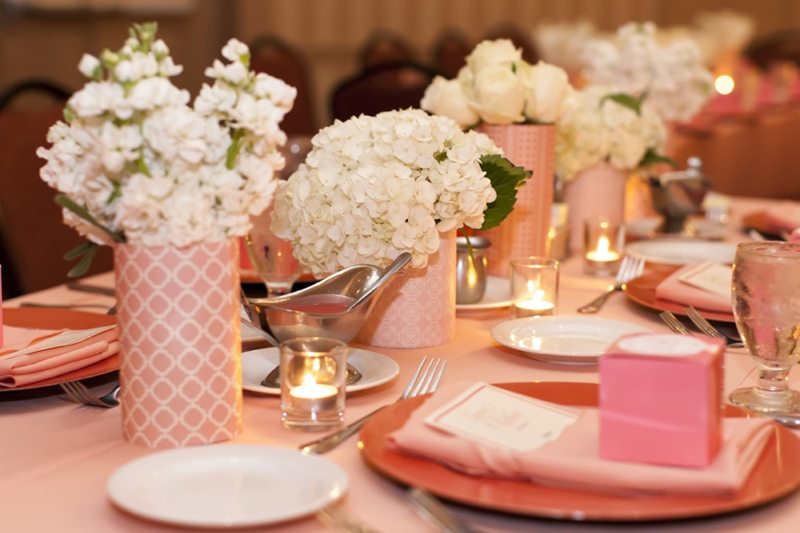 Modern Pink and Peach St. Louis Wedding via TheELD.com