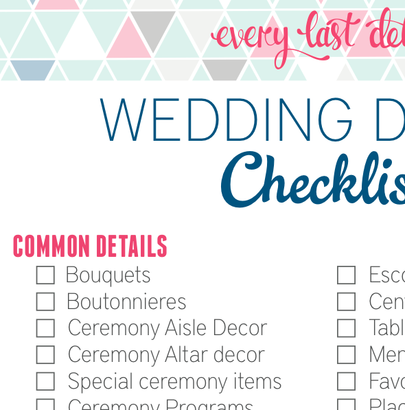 wedding detail checklist every last detail