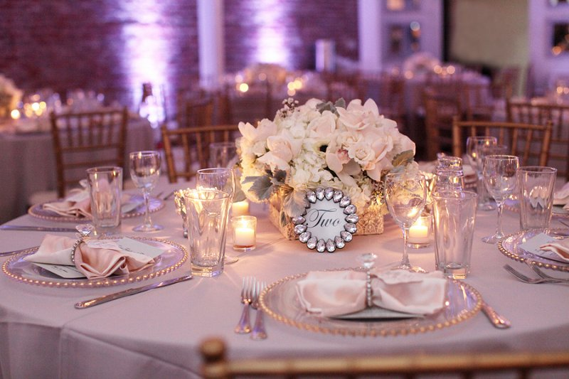 A glamorous pink white silver engagement party
