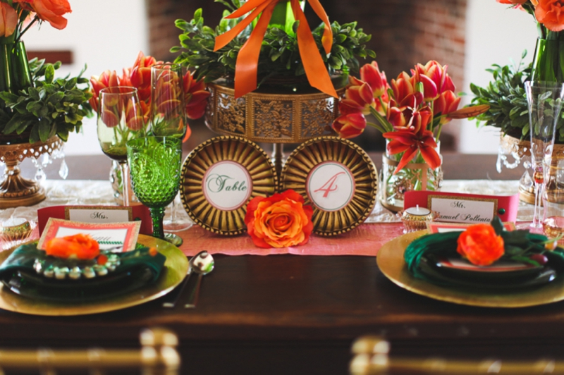 Chic Emerald and Orange Wedding Inspiration via TheELD.com