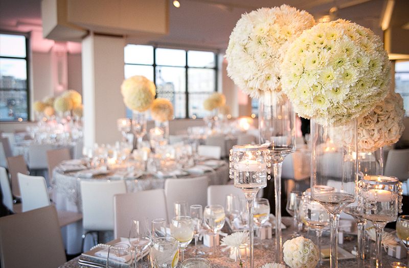 Glamorous White and Silver New York Wedding via TheELD.com