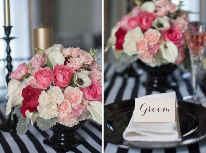 Modern Black, Pink and Gold Wedding Inspiration via TheELD.com