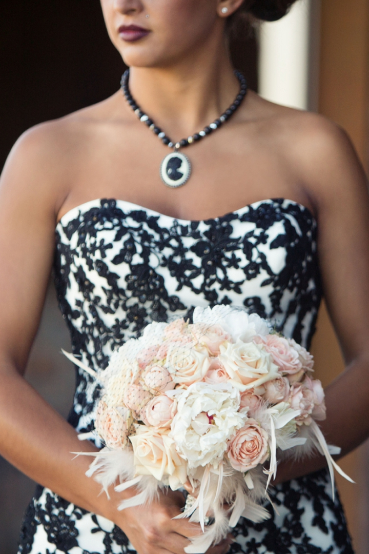 Black, White, & Blush 1920s Wedding Inspiration via TheELD.com