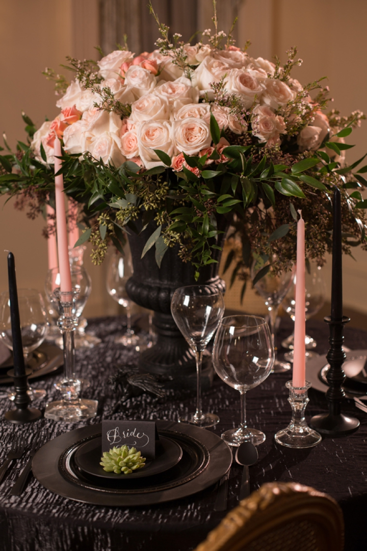 Bold Dramatic Blush and Black Wedding Ideas via TheELD.com