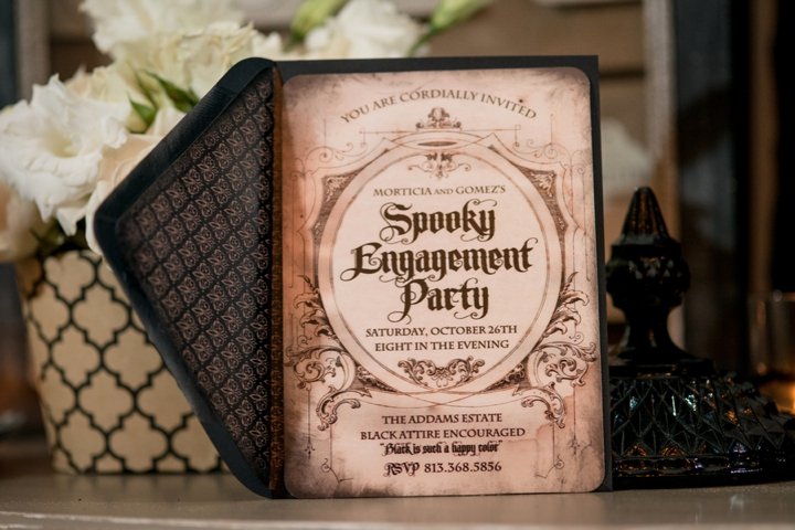 elegant halloween inspired engagement party ideas