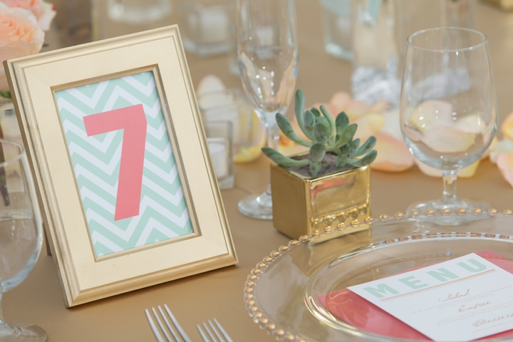 Modern Peach and Mint Wedding Inspiration via TheELD.com